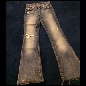 Sexy Seven for all mankind distressed/ripped jean.