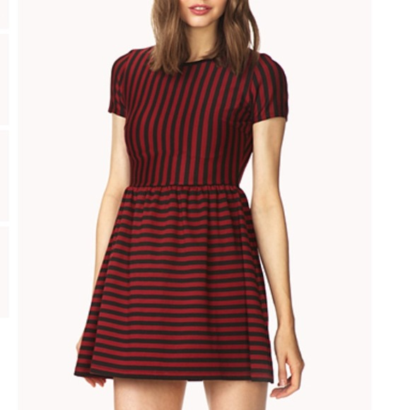 Forever 21 Dresses Darling Red And Black Striped Dress Size M