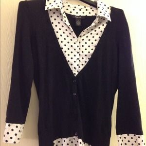 Polka Dot silk and sweater blouse