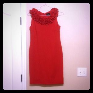 Dresses & Skirts - Ann Taylor (ish) red shift dress with collar.