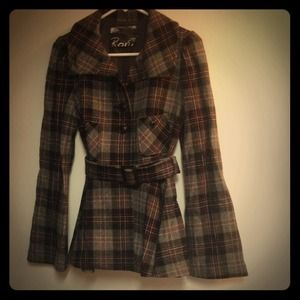 Host Pick Belted Plaid Wool Coat