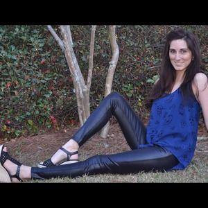 Pants - Black Leather Skinny Leggings