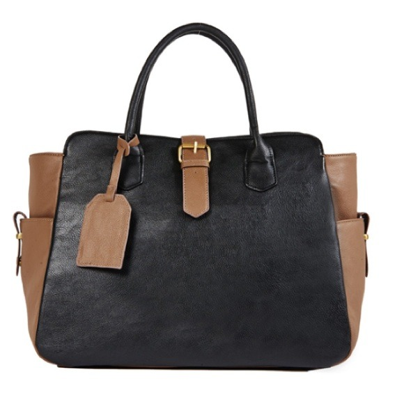 JustFab Handbags - Black and Taupe Tote