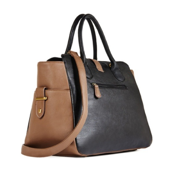 Handbags - Black and Taupe Tote 2