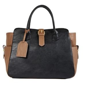 JustFab Bags - Black and Taupe Tote 1