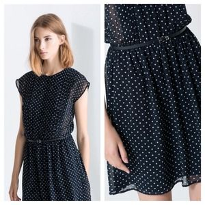Printed polka dot dress with belt - navy