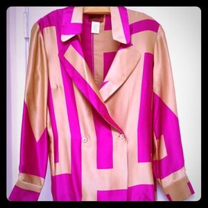 Missoni Tops - Missoni gold & fuchsia silk satin shirt Sz Small.
