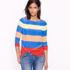 XX KEEPING XX CREW silk colorblock top.