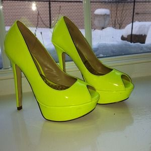 ALDO Shoes - Neon yellow peep toe platform pumps 179a5aaa7b