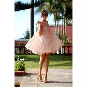 Pink Chiffon Ruffle Pleated Lace Bead Dress