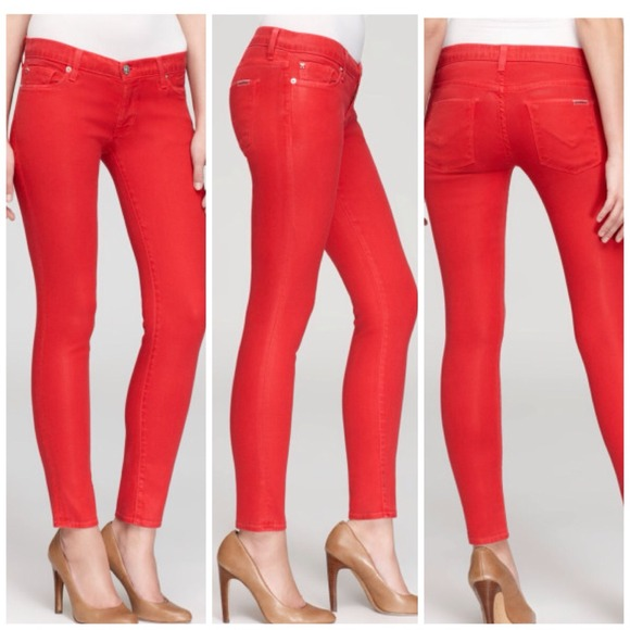red super skinny jeans - Jean Yu Beauty