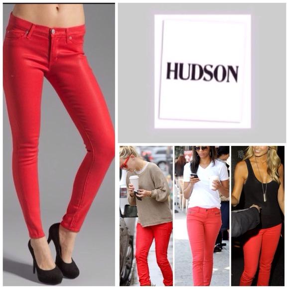 66% off Hudson Jeans Denim - Hudson Red Coated Krista Super Skinny ...