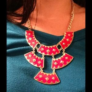 encore Jewelry - Red Tribal Statement Necklace and Earrings Set