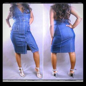 Dresses & Skirts - Pinstripe belted denim jean halter dress