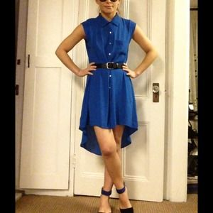 Cobalt blue button up high low shirt dress