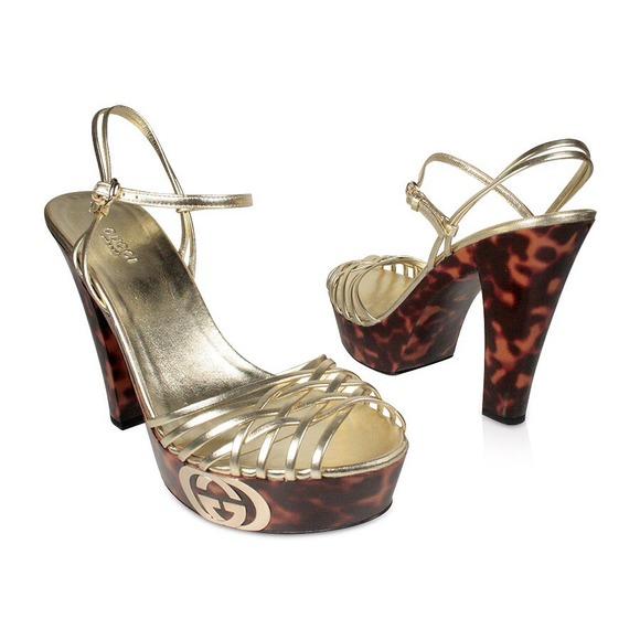 4d013870ddc6 Gucci Shoes - Gucci Womens Shoes Platform Leopard Gold Sandals