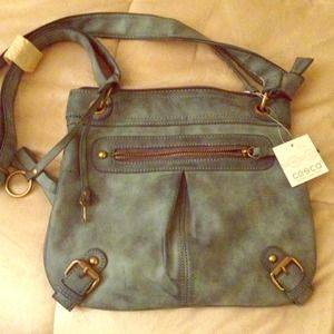 Distressed blue cross body satchel 