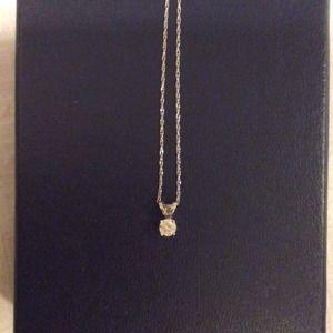Jewelry - GENUINE 10k white gold diamond solitaire pendant