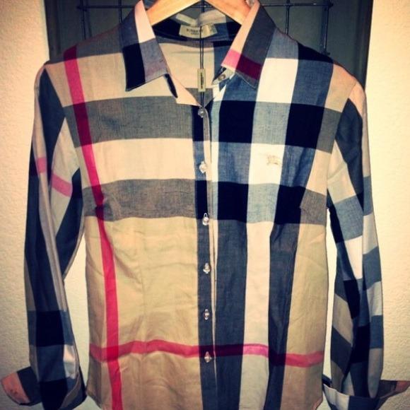 508461059 Burberry Tops   New Brit Nova Check Flannel Woven Shirt   Poshmark