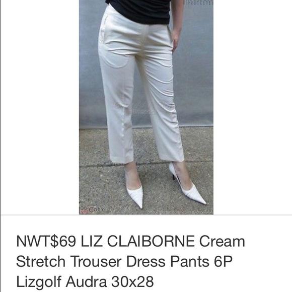 fa22cb777e8 Liz Claiborne cream office crop pants 6P. NWT