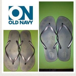 Old navy flip flops. Gold. 9