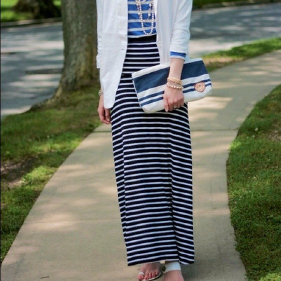 64% off Dresses & Skirts - FOLD OVER WAIST NAVY BLUE WHITE STRIPED ...