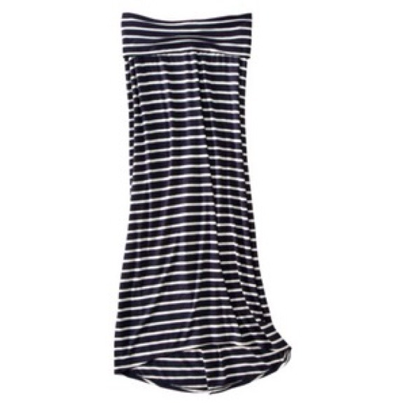 64% off Dresses & Skirts - FOLD OVER WAIST NAVY BLUE WHITE STRIPED ...