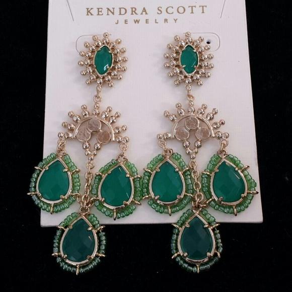Kendra Scott Emerald And Gold Chandelier Earrings