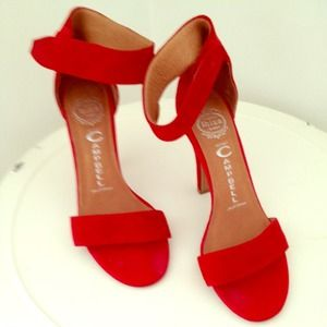 Jeffrey Campbell suede red heels size 7.5
