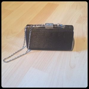 Handbags - Mini Clutch w/Rhinestone Detail & Chain