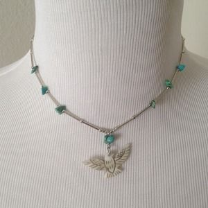 Jewelry - Genuine turquoise mother of pearl eagle necklace