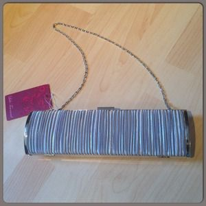 Handbags - Sexy Silver Clutch with Satin Ruching