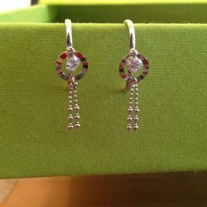 Jewelry - Silver Small hoop dangly crystal earrings