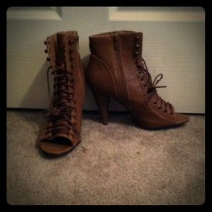 Brown open toe ankle boots