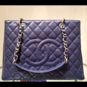 Authentic Chanel GST Navy w. Gold Hardware- NEW
