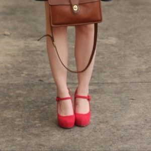 shoemint  Shoes - Red platform Mary Janes