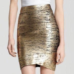 BCBGMAXAZRIA Gold Skirt Silvie Foil Print