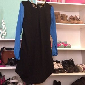 Black n Blue Long Sleeve Dress
