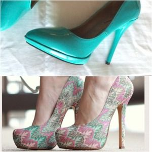 RESERVED -- Teal heels & zig zag pumps