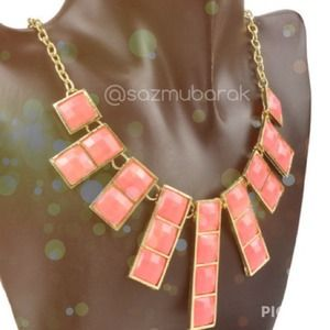 Jewelry - Square Orange Pink Jelly Statement Bib Necklace 💖