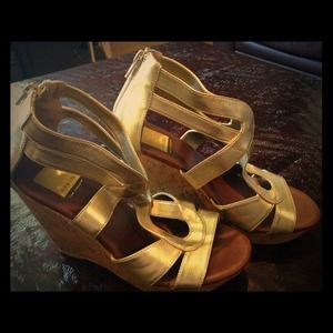 Size 7 Dolce Vita GOLD patent leather cork wedges