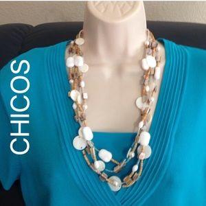 Chico's Jewelry - Chicos White beaded multi strand necklace