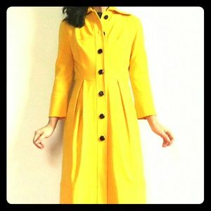 DVF Yellow and Black Silk Lined Coat 0 2