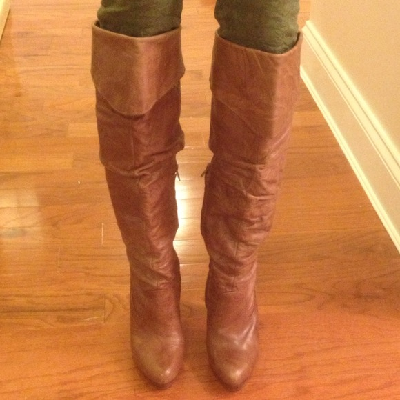 8d130fb29c87 Jessica Simpson Boots - RESERVED Camel Leather Knee High High Heeled Boots