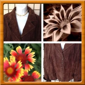 Jackets & Blazers - Sz XL Petite Brown Suede Leather Jacket