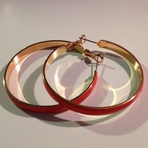 Jewelry - Orange hoop earrings with gold trim