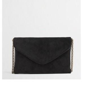 JCREW NEW BLACK SUEDE ENVELOPE CLUTCH PURSE CHAIN