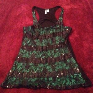 Green & Black Sequin and Lace Tank Top! NWOT