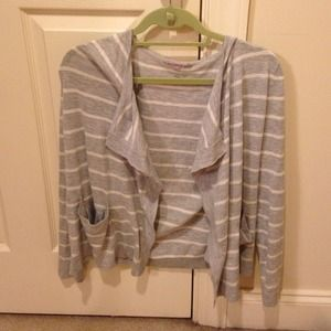 Gap Gray and White striped cardigan