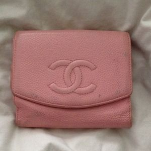 Authentic Chanel pink leather wallet